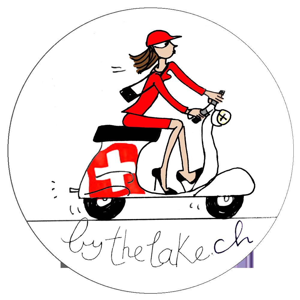 Logo d'une femme sur un scooter avec le drapeau Suisse